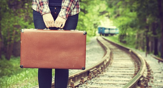 Young Woman With Old Suitcase On Railway
